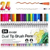 Rotuladores de Punta Doble, Vakki 24 Colores Rotuladores Punta Pincel, Plumas para Colorear para Dibujo, Boceto, Diseño, Firma, Cómic(0.4mm, 1-2mm)