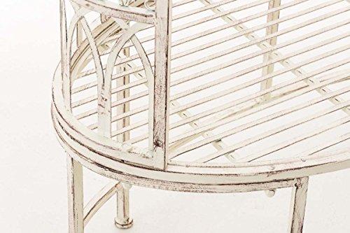 CLP Metall-Gartenbank AMANTI mit Armlehne, Landhaus-Stil, Eisen lackiert, Design antik nostalgisch, Form oval ca. 110 x 55 cm Antik Creme - 7