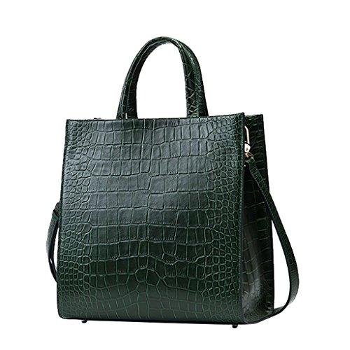Mena UK Designer di prima mano del modello di cuoio del coccodrillo del cuoio di stile Grande borsa della borsa della spalla del sacchetto di Tote ( Colore : Arancia , dimensioni : 28.5cm*29.5cm*15cm  Verde
