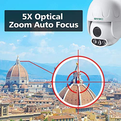 SV3C Überwachungskamera Aussen WLAN 1080P Dome IP Kamera PTZ,5X Optischer Zoom,Wasserfest,Bewegungserkennung,50m Nachtsicht,Supporto TF Card da 128 GB,Kompatibel mit Smartphones/Tablets/Windows