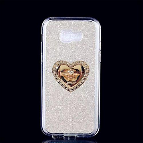 MUTOUREN TPU Silikon Hülle für Samsung Galaxy A5 (2017) Bling Glitzer Handyhülle Schutzhülle Etui Protective Case Cover Rück mit Ring Anti-Handytasche Bumper-Silber (Preiswerte Diamant-ringe)