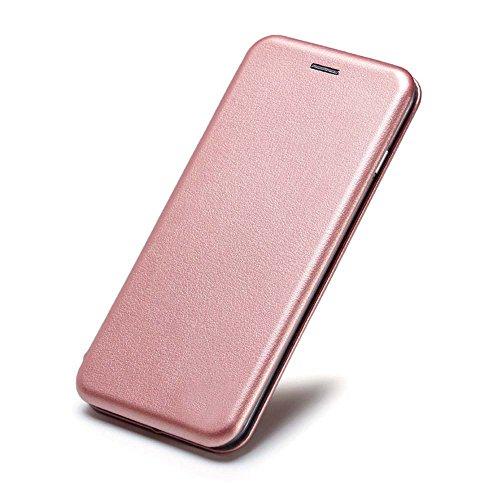 Samsung Magnet (Samsung Galaxy J32017Rose Gold Slim Shell PU Leder Magnetverschluss Standfunktion Flip Wallet Schutzhülle aufklappbar)