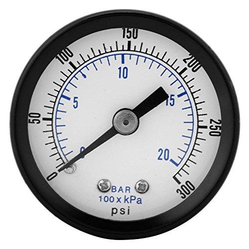 Akozon Mini Manometer Für Kraftstoff Luft Öl Flüssigkeit Wasser 0-20bar / 0-300psi 1/8