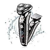Macchina Rasoio Trimmer Elettrico Barba Uomo Rotante 2 Teste Flessibile Wireless Asciutto e Asciutto con USB e Cappuccio
