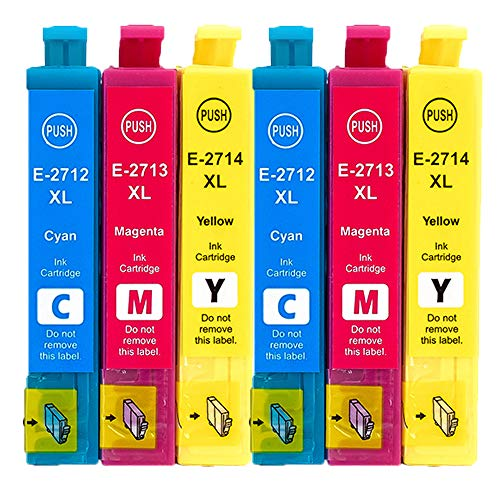 Teng 27XL - Cartucce d'inchiostro sostitutive per Epson 27 XL, per stampanti Epson Workforce WF 3620 WF 3640 WF 7610 WF 7620 WF 7110 WF 7715 WF 7720 WF 7210 (2 ciano, 2 magenta, 2 giallo)