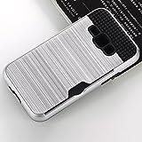 Lusenbo Samsung Galaxy J1 (2016) J120 Hülle Kreditkarteninhaber-Tasche Stoßfänger-Hülle Brieftasche Shockproof Duty-Schutzhülle [kabelloses Laden] Schlanke Harte Schale Anti Scratch-Abdeckung, Silver