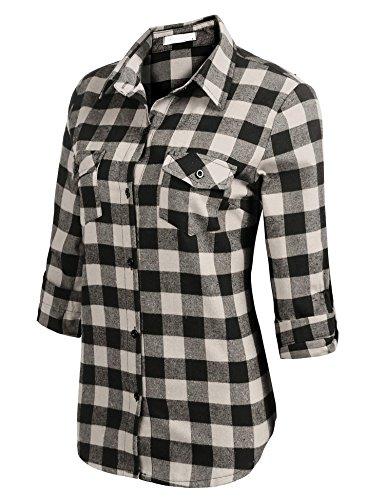 CHIGANT Damen Karierte Bluse Langarm Klassische Karobluse Casual Oberteil Langarmshirt mit Brusttaschen (Klassische Langarm-bluse)