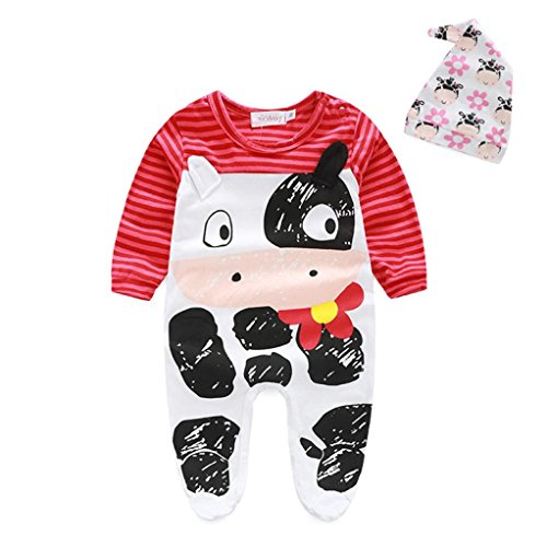 Culater® Newborn Infant Baby Boys Girls Cartoon Romper+Hat Jumpsuit Bodysuit Outfit (70, Rosso)