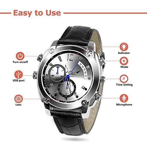Mini Kamera,FLYLINKTECH HD 1080P 16 GB Mini Cam Uhr mit wasserdichter Funktion und Nachtsicht