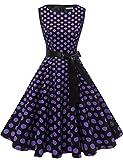 Gardenwed Annata 1950 retrò Rockabilly Polka Vestito da Audery Swing Senza Maniche Abito da Cocktail Partito Black Purple DOT S