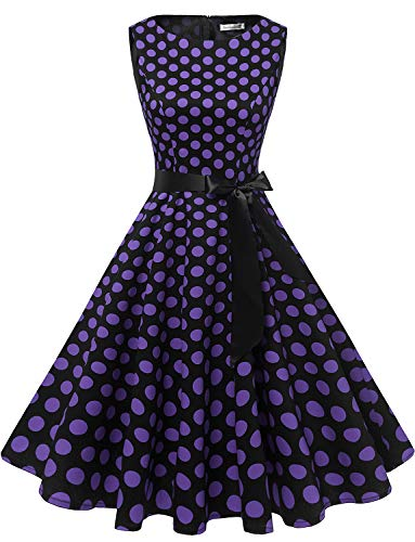 Gardenwed Damen 1950er Vintage Cocktailkleid Rockabilly Retro Schwingen Kleid Faltenrock Black Purple Dot S