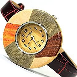 Animoo Damen Armbanduhr in Holz Optik, Wood Look Braun Beige Trend Fashion Uhr