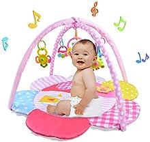 La actividad del bebé Playmat y musical del bebé de la gimnasia con juguetes de peluche