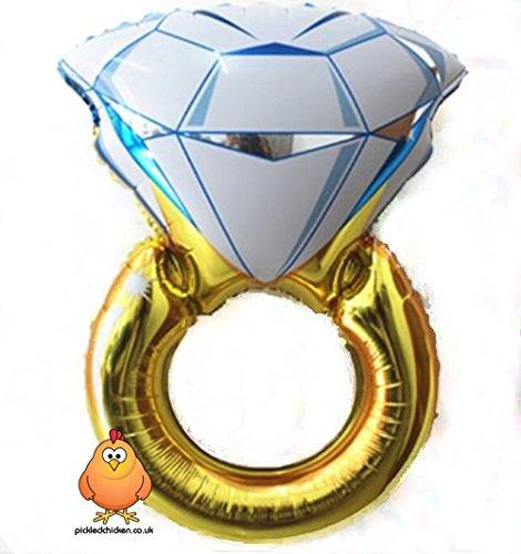 Preisvergleich Produktbild Verlobungsring Hochzeit Gold Diamant Ring Helium Ballon Party Dekoration