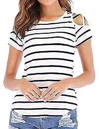 Luckycat Tops Sólidos con Cuello V a Rayas Blusa Casual De Manga Corta para  Mujer Camisa 436f847098d41