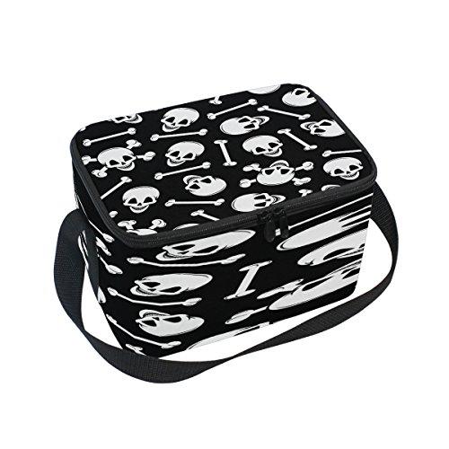 Use7weiß Sugar Skull mit Knochen schwarz Isolierte Lunch Bag Tasche Cooler Lunchbox für Picknick Schule Frauen Herren Kinder