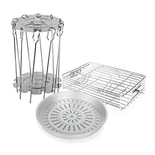 Klarstein • VitAir • Accesorio Freidora • Set 3 piezas • Acero inoxidable • Aluminio fundido • 10 espetones asador rotativo • Dorar • Al vapor
