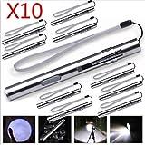 10 Stück LED Taschenlampe 8000 Lumens, Mini USB Wiederaufladbar rostfreier Stahl Taktisch Taschenlampe By huichang