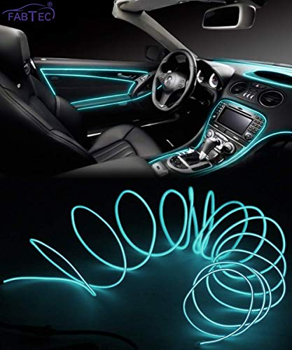 FABTEC EL Wire Car Interior Light Ambient Neon Light For All Car Models With Adapter (5 Meter, Ice Blue)