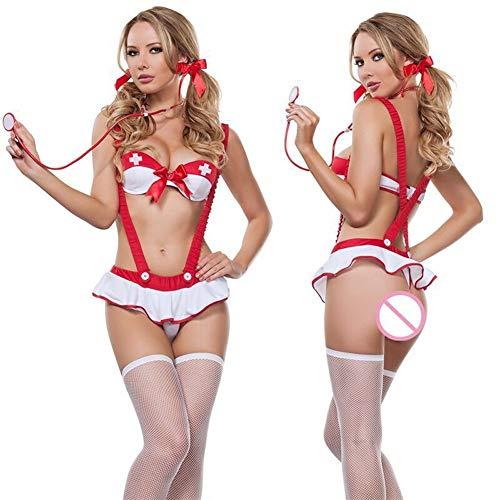 Heißen Kostüm Weiblichen - FMN-SEXY, Frauen Sexy Krankenschwester Kostüm Heiße Erotische Unterwäsche Rollenspiele Frauen Erotische Dessous Weibliche Sexy Unterwäsche Lenceria Uniform (Color : Weiß, Size : One Size)