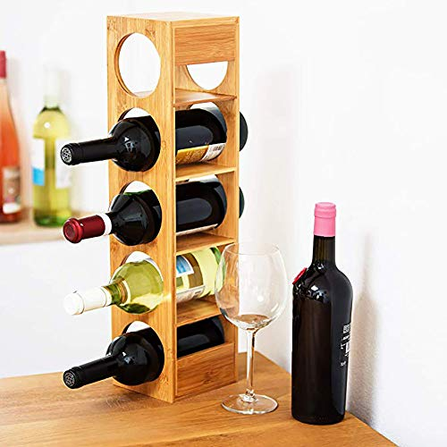 HYLL Casier à vin en Bambou|Support à Vin Bois | Support à 5 Bouteilles fixé | Étagère à vin en Bois préassemblée |Conception modulaire empilable Joli Bar à vin Cave Cabinet sous-cellier Cuisine