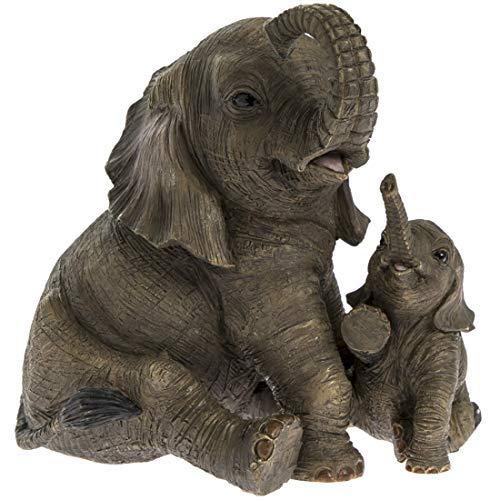 Kalb Box (The Leonardo Collection Sitzender Elefant mit Kalb Leonardo 'Out of Africa' Moderne Ornament 12 cm * Box *)