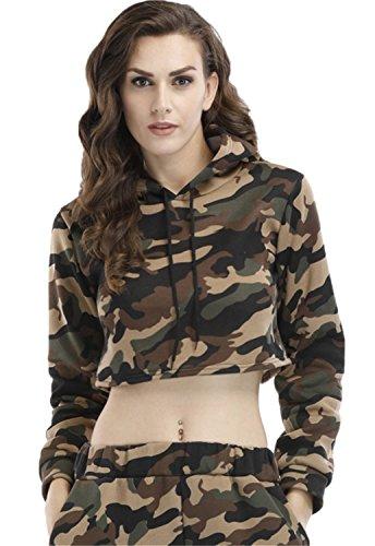 Camo Crop (Langarm Militär Camo Tarnung Gedruckt Kapuze Kapuzenpullover Hoodie Kurze Crop Sweatshirt T-Shirt Oberteil Top Armee Grün M)