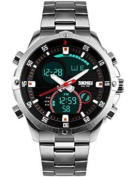 TTLIFE Wasserdicht Edelstahl-Armbanduhr Herren, Analog, Digitalanzeige, LED Displaybeleuchtung, Chronograph Quarz...