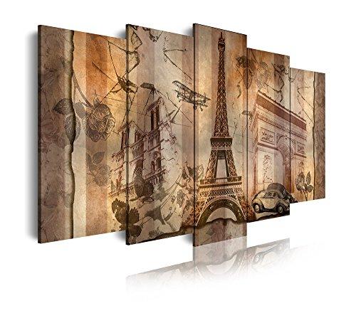 DEKOARTE 421 - Cuadro moderno en lienzo de 5 piezas, monumentos famosos de París, 150x80cm