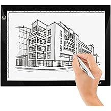 insma A4LED mesa de copia de dibujo Junta caja de luz diseño de Artcraft Tracing ultrafina USB de alimentación regulable Brillo Profesional Interior, de arquitectura, diseño de ropa, como dibujo (a4-dc) color