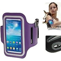 TechExpert Brassard sport tour de bras violet pour Samsung Galaxy SIV mini S4 mini/i9190 idéal pour les sportifs, course à pied ou salle de sport avec pochette pour clés