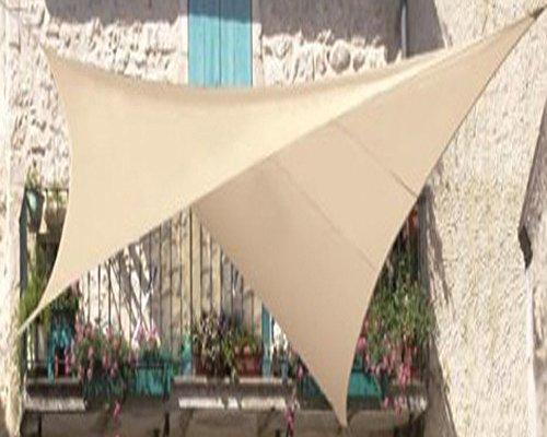 PEGANE Voile d'ombrage carrée Sable en Polyester 200g/m² Anti-UV, 500 x 500 cm avec kit de Fixation