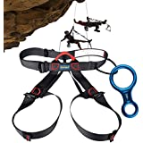 AYAMAYA Climbing Harness + Figure 8 Descender Rigging Plate AYAMAYA Half Body Harness Seat Belts Guide Protector & Rescue 8 Descender For Rope Rock Climbing Belaying Rappelling Fire Rescue Tree Work Arborist