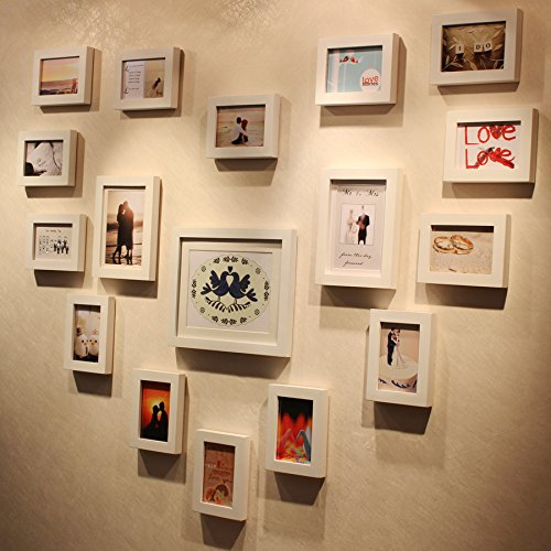 SQZH cuore di legno photo frame parete parete soggiorno combinazione di semplici bianco puro 17 confezione regalo,tutto bianco
