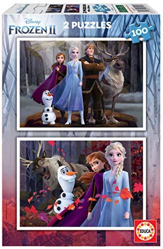 Educa Borrás-Frozen 2 Puzzles 2 x 100 Piezas, Color Variado, (18111)