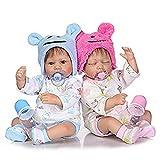 Zaoyun Jumeaux Baby Doll, 42cm Doux Silicone Bébés Reborn Bébés Poupée Garçon Et Dormir Fille Cadeau De Noël (Garçon Et Fille)