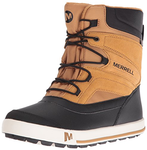 Merrell Jungen ml-b Snow Bank 2.0 Waterpoof Trekking-& Wanderstiefel, Braun (Wheat/Black), 38 EU - Wasserdichte Winter-schnee-stiefel