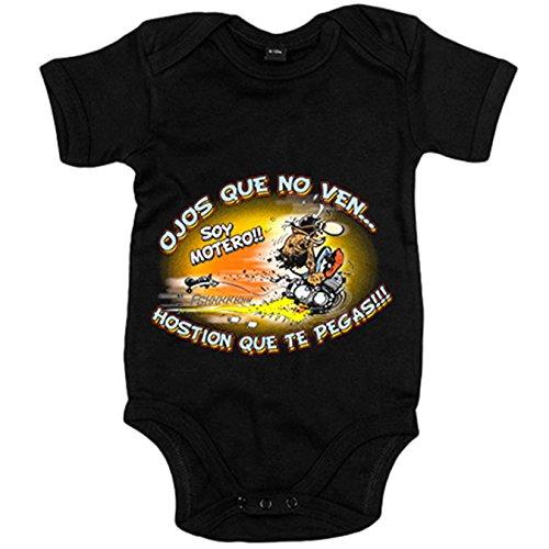 Body bebé ojos que no ven Hostión que te pegas soy motero - Negro, 6-12 meses
