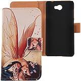 """Lankashi PU Flip Funda De Carcasa Cuero Case Cover Piel Para Huawei Y5II Y5-2 5"""" Wings Girl Design"""
