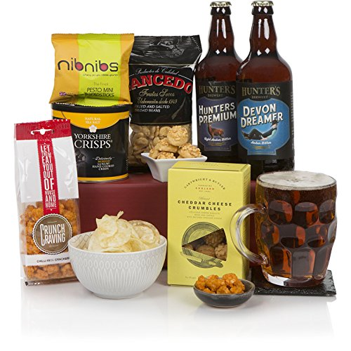 Craft Bier & Essen Geschenkkorb - Bierkörbe und Geschenkkörbe für Männer - Auswahl an Leckereien und Ales
