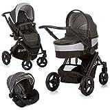 Hauck Kinderwagenset 3 in 1, Maxan 4 Plus Trio Set, inkl. Babyschale, Kinderautositz Gruppe 0 für Isofix Base, Babywanne, Kombikinderwagen, große Räder, kompakt, ab Geburt bis 22 kg
