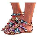 Amknn Women's Colorful Pom Pom Lacy Up Beach Strap Gladie Sandal - Chestnut (41, Brown)