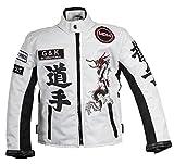 Racing Jacke Weiß für Kinder, Motorradjacke aus Textil, Bikerjacke (XL)