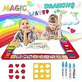 Reastar Wasser Doodle Matte, 80x60cm Aqua Magic Doodle Matte mit 4 Magischer Stift und 2 Zeichnungsvorlagen, Wiederverwendbare Wasser Zeichnen Matte - Pädagogisches Geschenk für Kinder