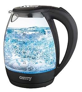 Camry CR 1235 bouilloire électrique 1,7 l inox-verre puissance 2200W Indicateur de niveau d'eau Arrêt automatique Protection Boil-sec Filtre anti-calc