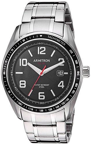 Armitron Men's 20/5252BKSV Solar Powered Date Calendar Dial Silver-Tone Bracelet Watch