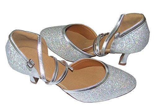 Pobfashion Moderne Tanzschuhe glitzernde Damenschuhe in vielen reflektierenden Farben (EU38, silber)