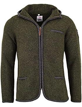Herren Mia san Tracht. Herren Trachten-Outdoor Jacke mit Kapuze oliv, Loden (oliv),