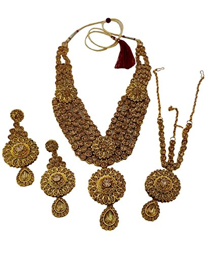 Shoppingover, Hochzeits-Halskette mit Maang Tikka, Kundan Polki und Ohrringen