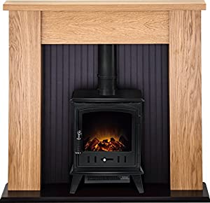 Adam New England Stove Suite in Oak with Aviemore Electric Stove in Textured Black, 48 Inch